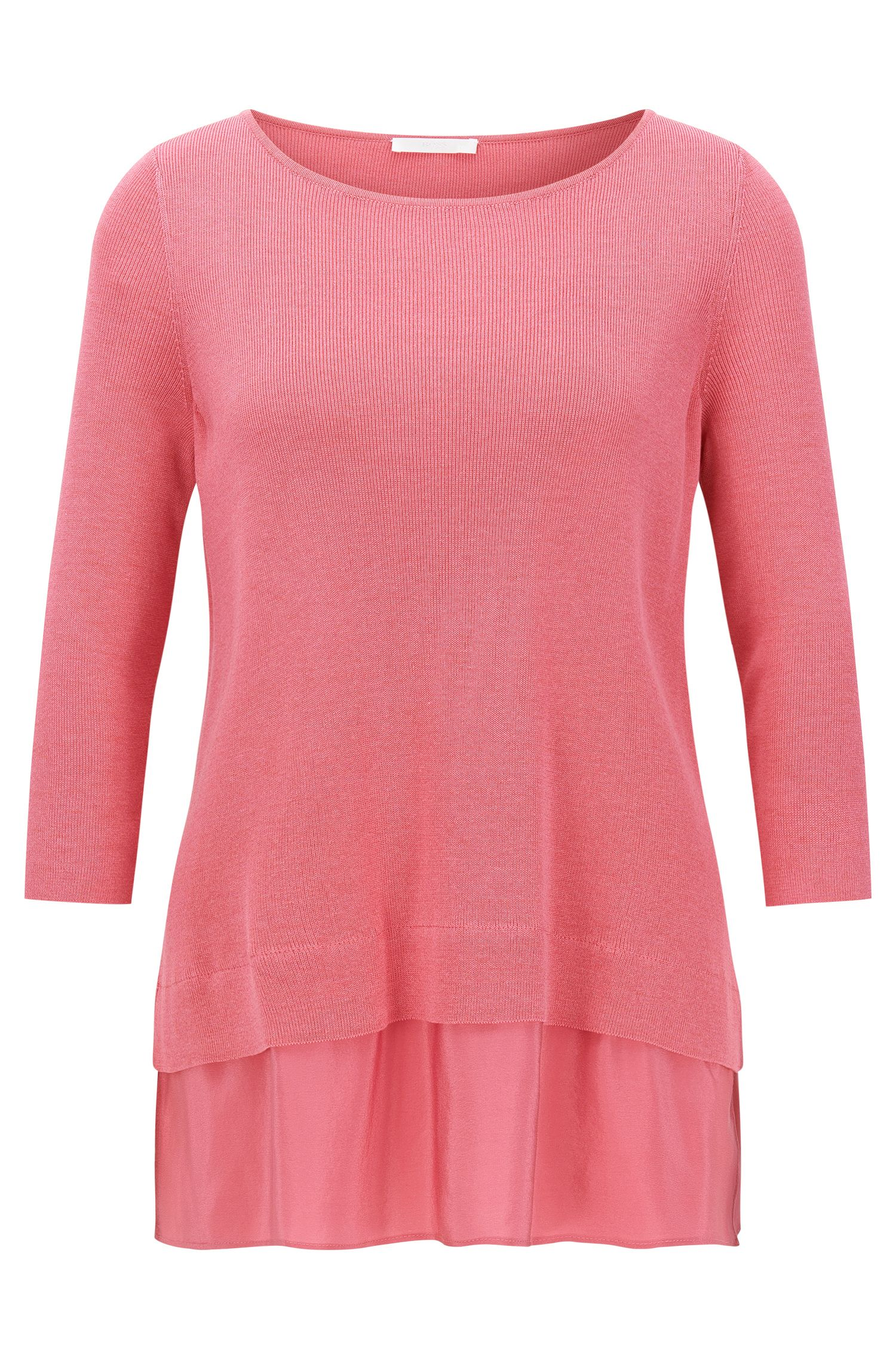 Regular-fit cotton-blend top with silk detail