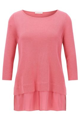 Regular-fit cotton-blend top with silk detail, Light Red