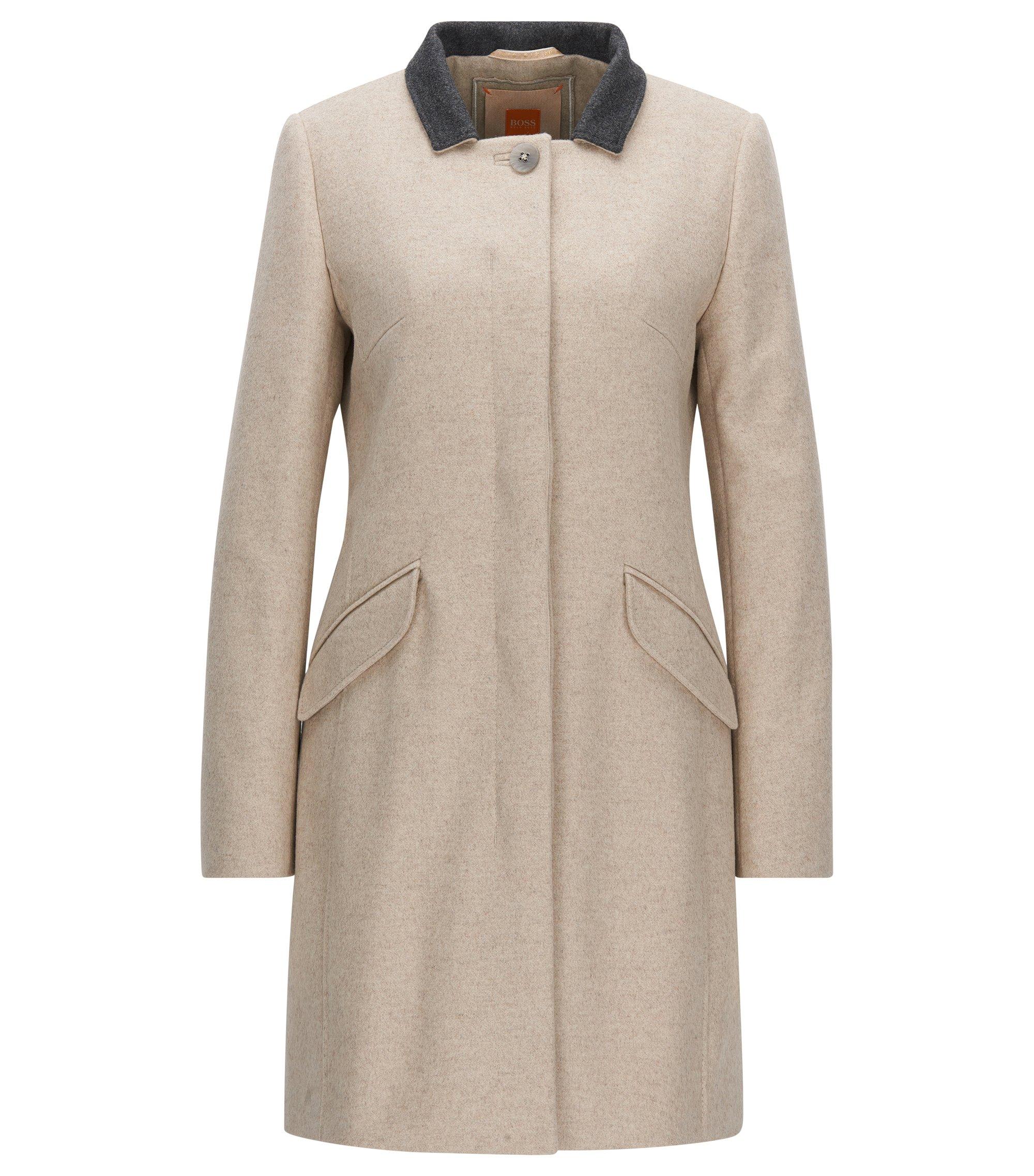 Abrigo regular fit en mezcla de lana con cierre de botones oculto, Natural