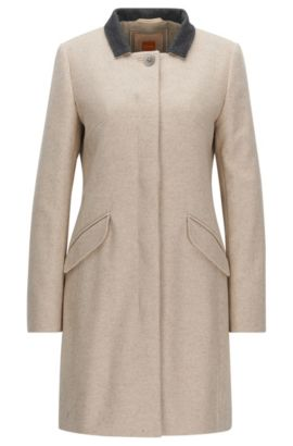 Regular-fit wool-blend coat with concealed button closure, Natural