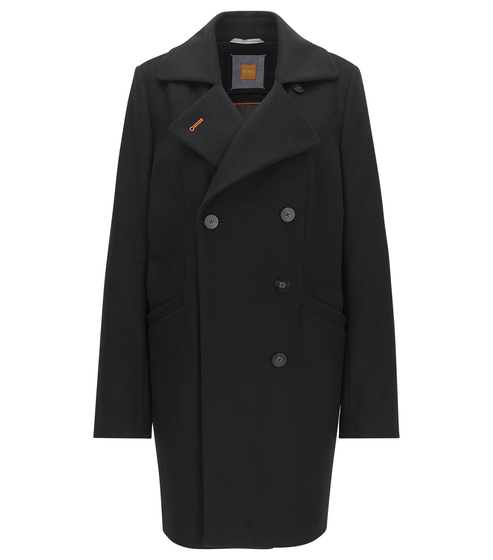 Relaxed-fit mantel met twee rijen knopen van een wolmix, Zwart
