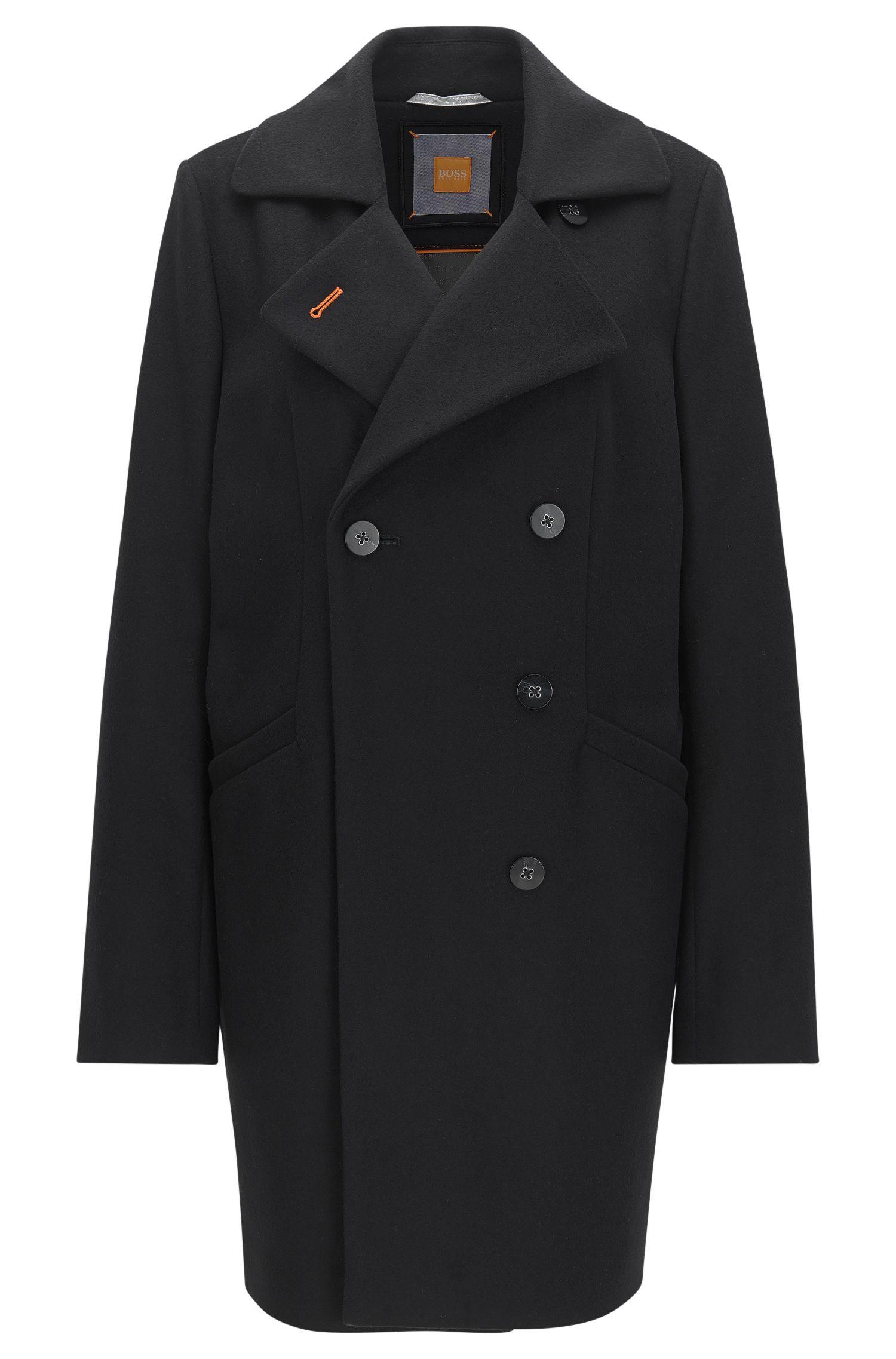 Zweireihiger Relaxed-Fit Mantel aus Schurwoll-Mix