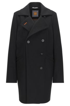 Relaxed-fit double-breasted wool-blend coat, Black