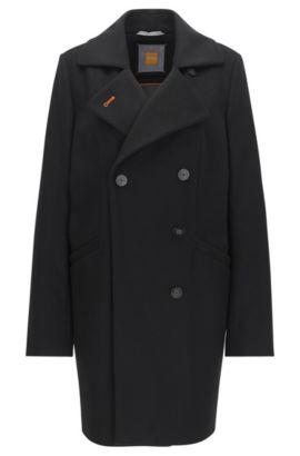 Zweireihiger Relaxed-Fit Mantel aus Schurwoll-Mix, Schwarz