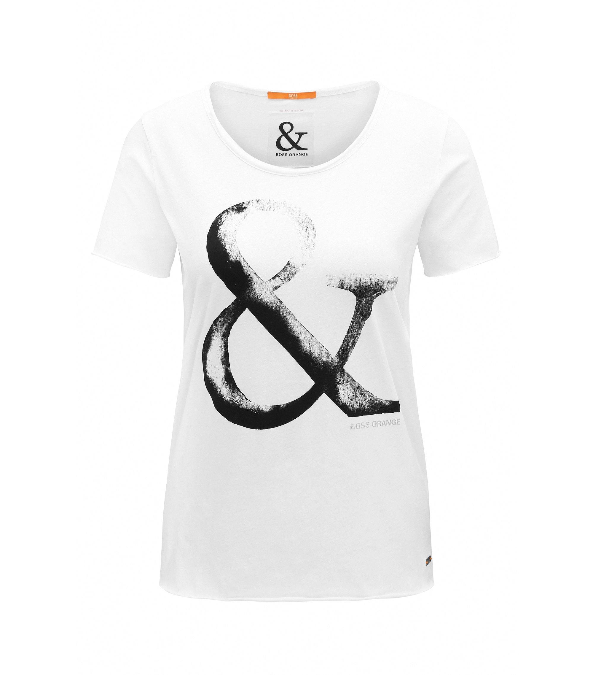 T-shirt en coton Slim Fit à motif esperluette imprimé, Blanc