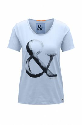 Slim-fit cotton T-shirt with ampersand print, Dark Blue