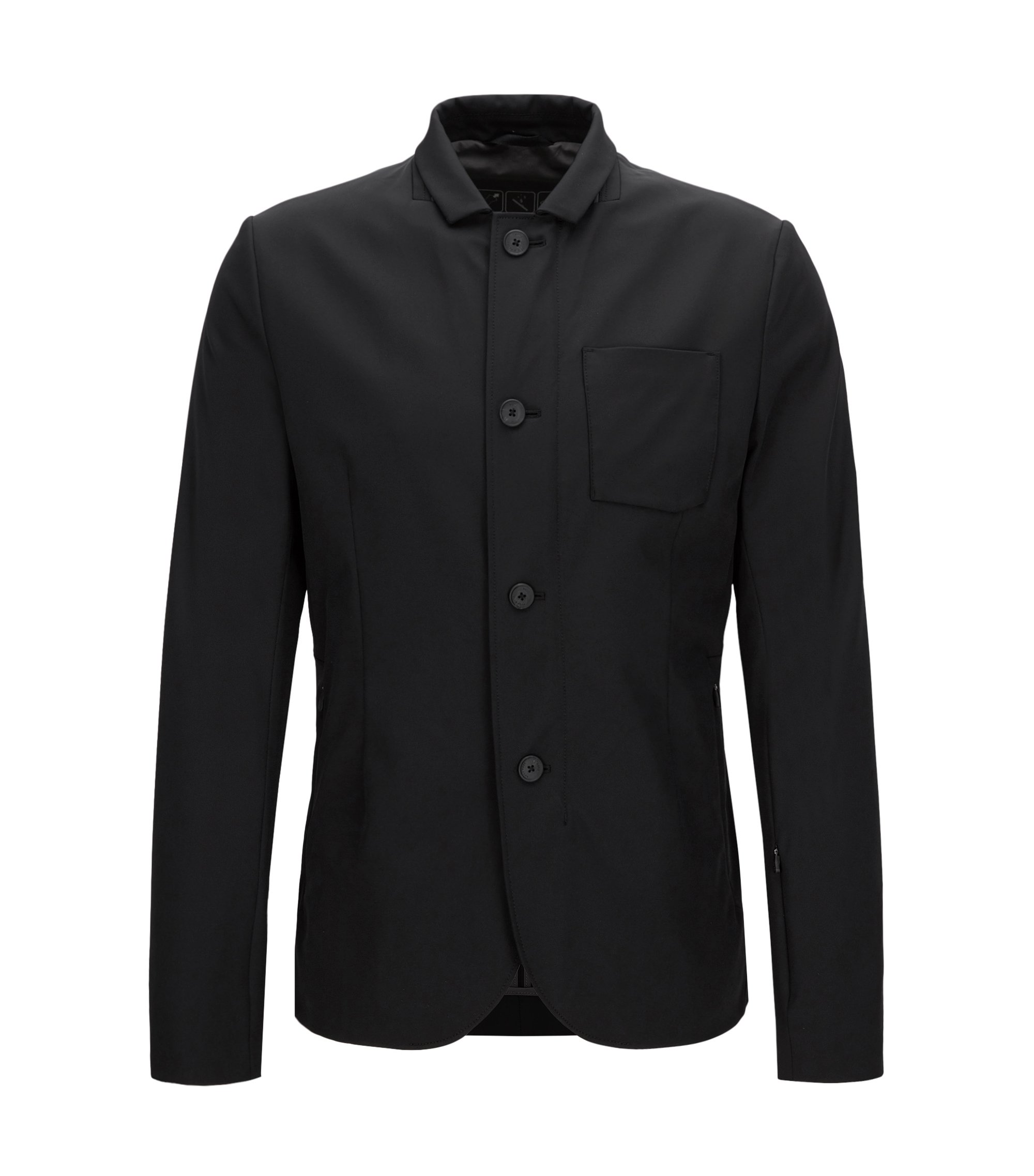 Slim-fit jacket in technical stretch, Black