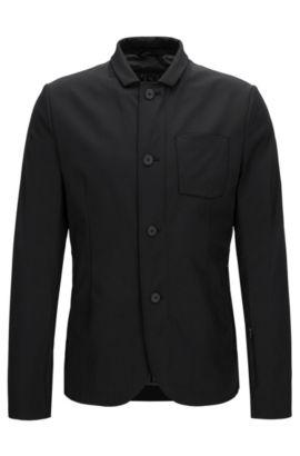 Slim-Fit-Jacke aus elastischem Material-Mix, Schwarz