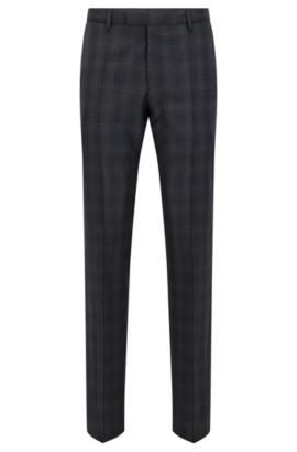 Regular-fit trousers in virgin wool, Anthracite
