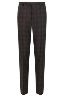 Pantalón regular fit en lana virgen, Marrón oscuro