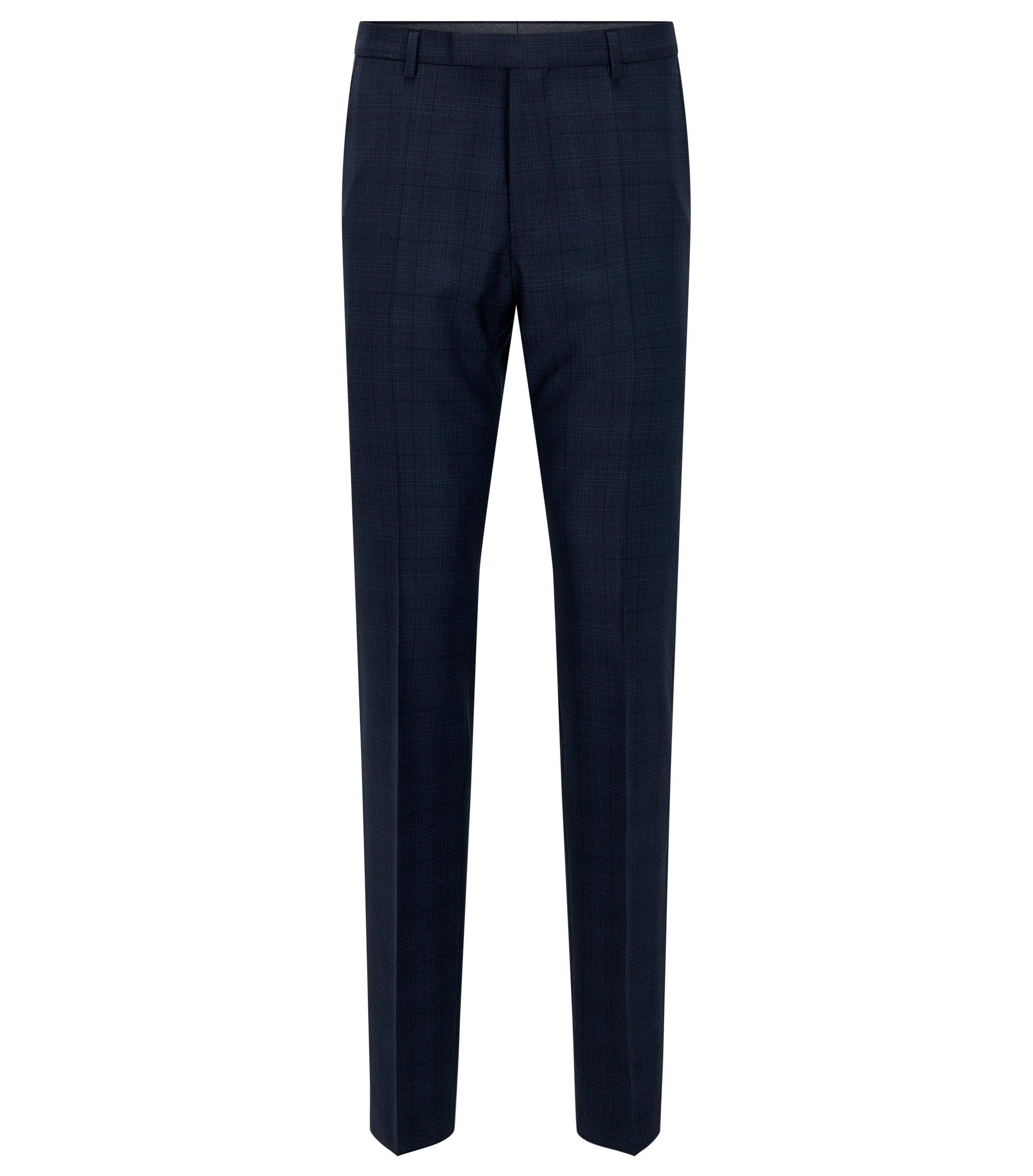 Pantalon Regular Fit en laine vierge, Bleu foncé