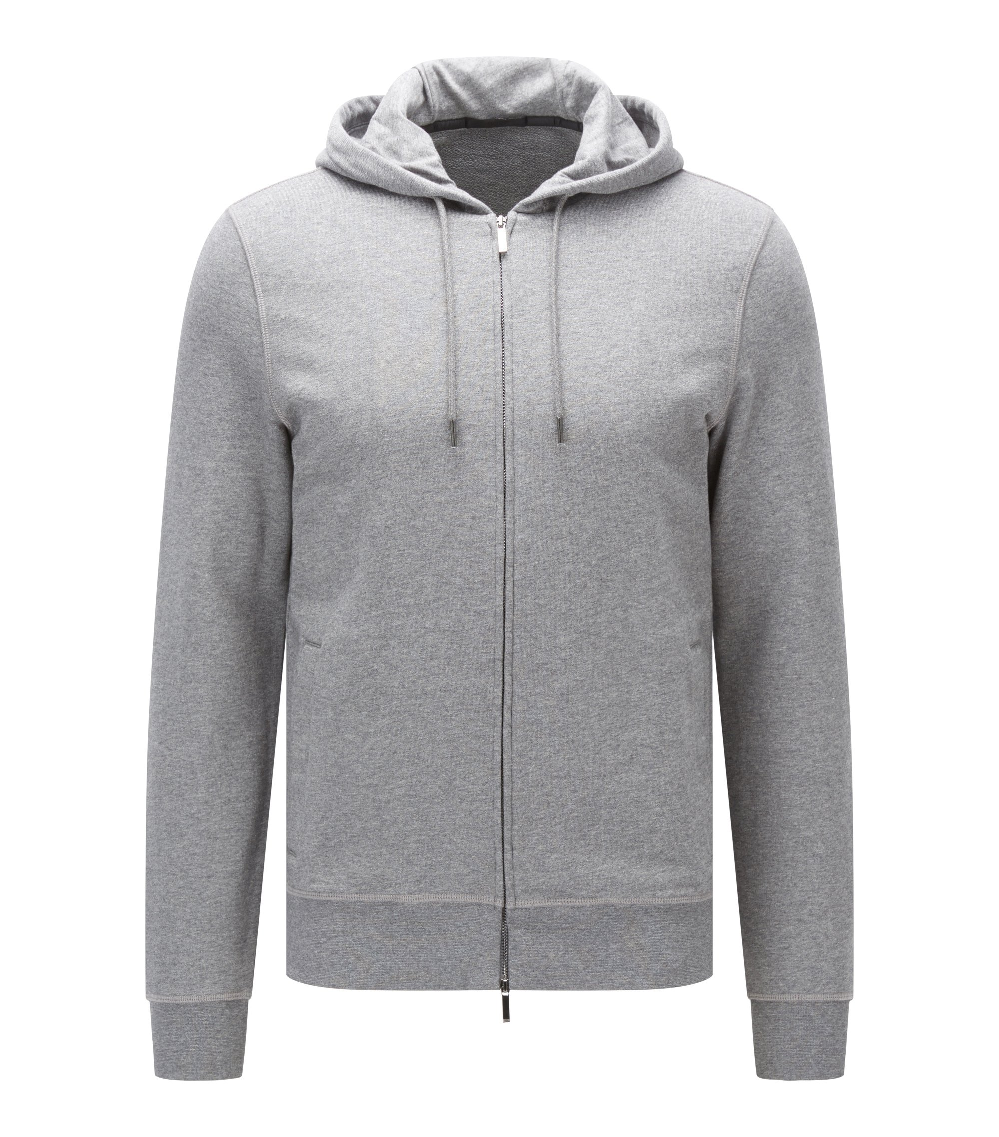 Sweat Slim Fit zippé molleton bouclette de coton, Gris