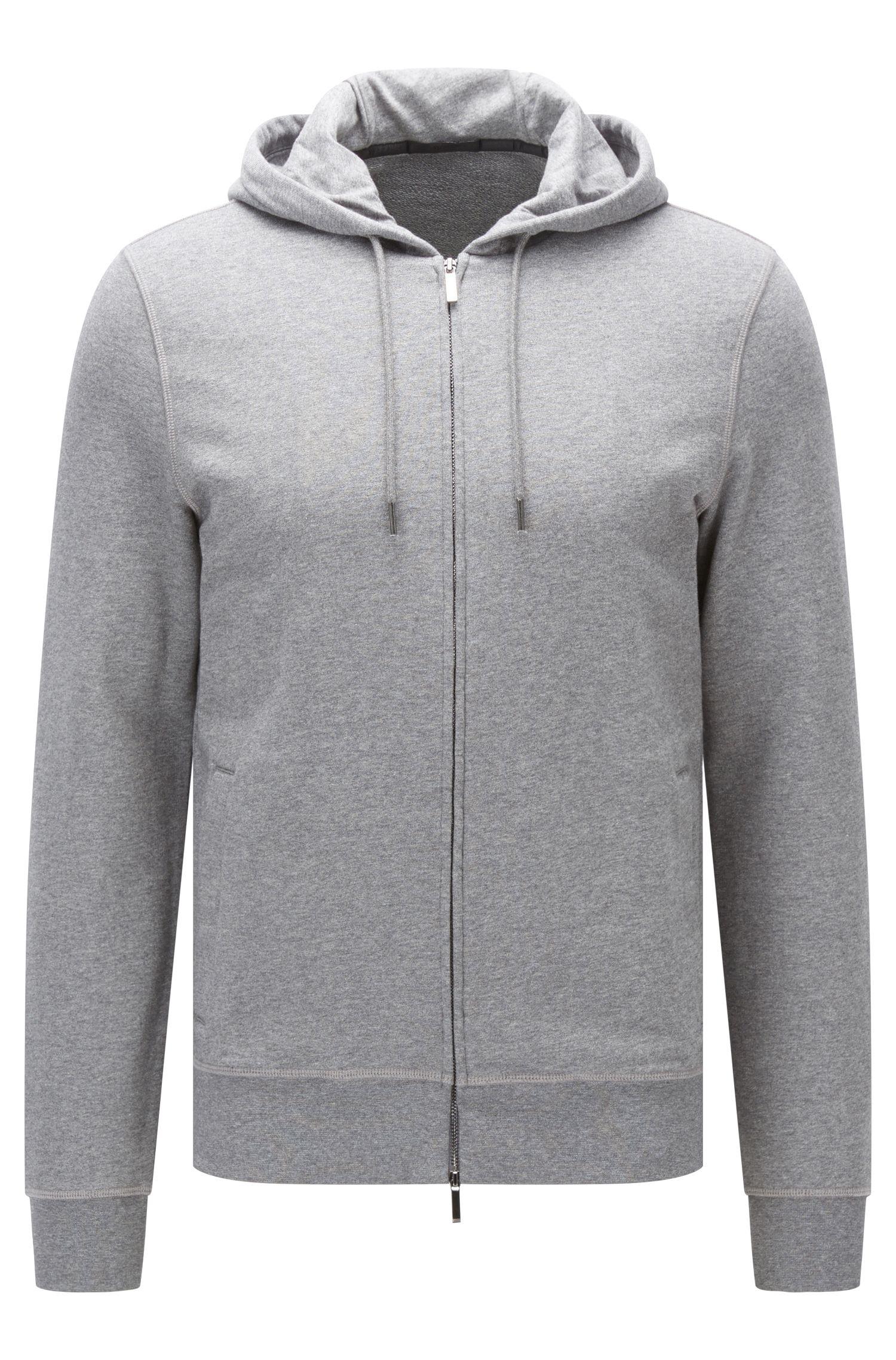 Slim-fit sweatshirt van katoenbadstof met rits