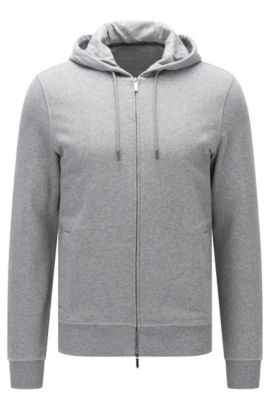 Felpa slim fit con zip integrale in cotone terry, Grigio
