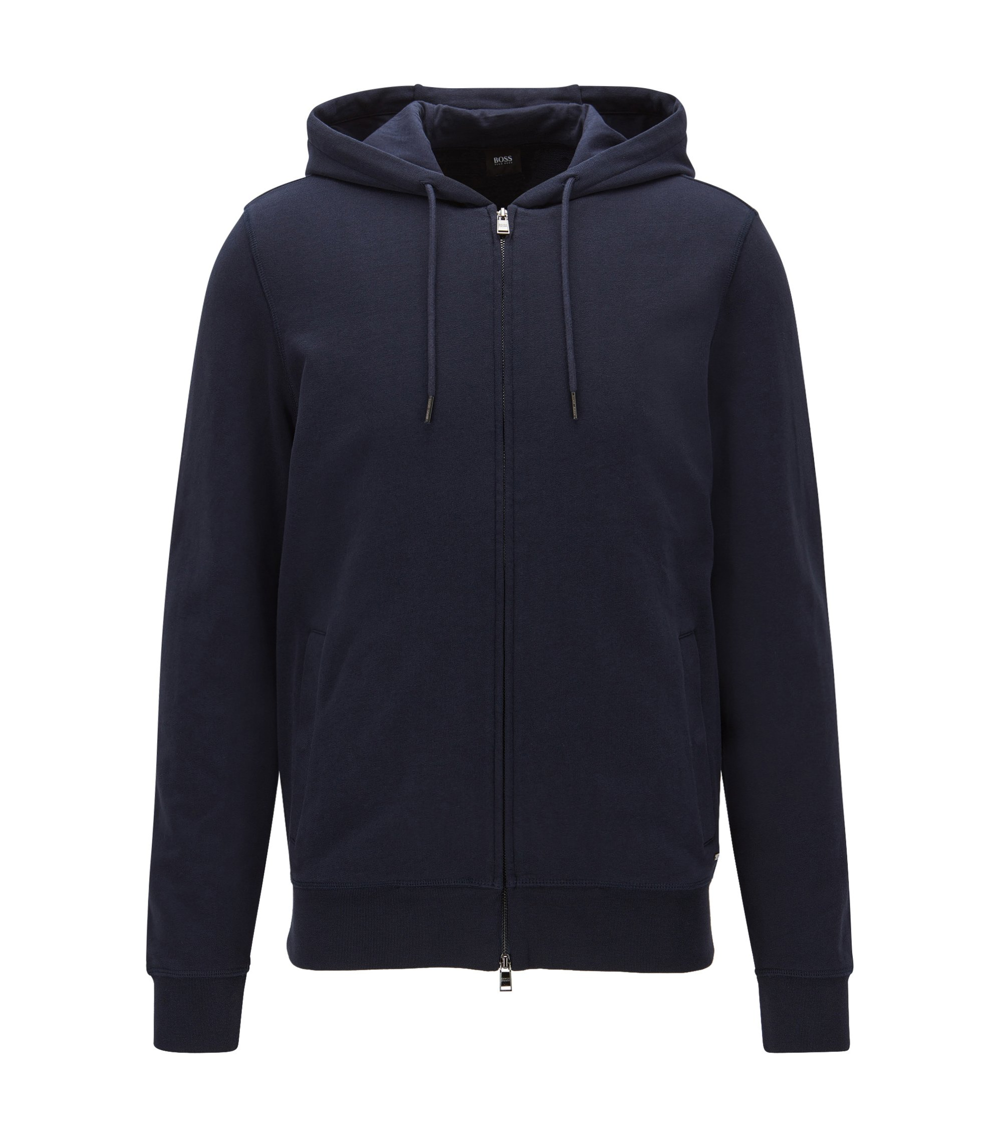 Slim-fit zip-through sweatshirt in cotton terry, Dark Blue
