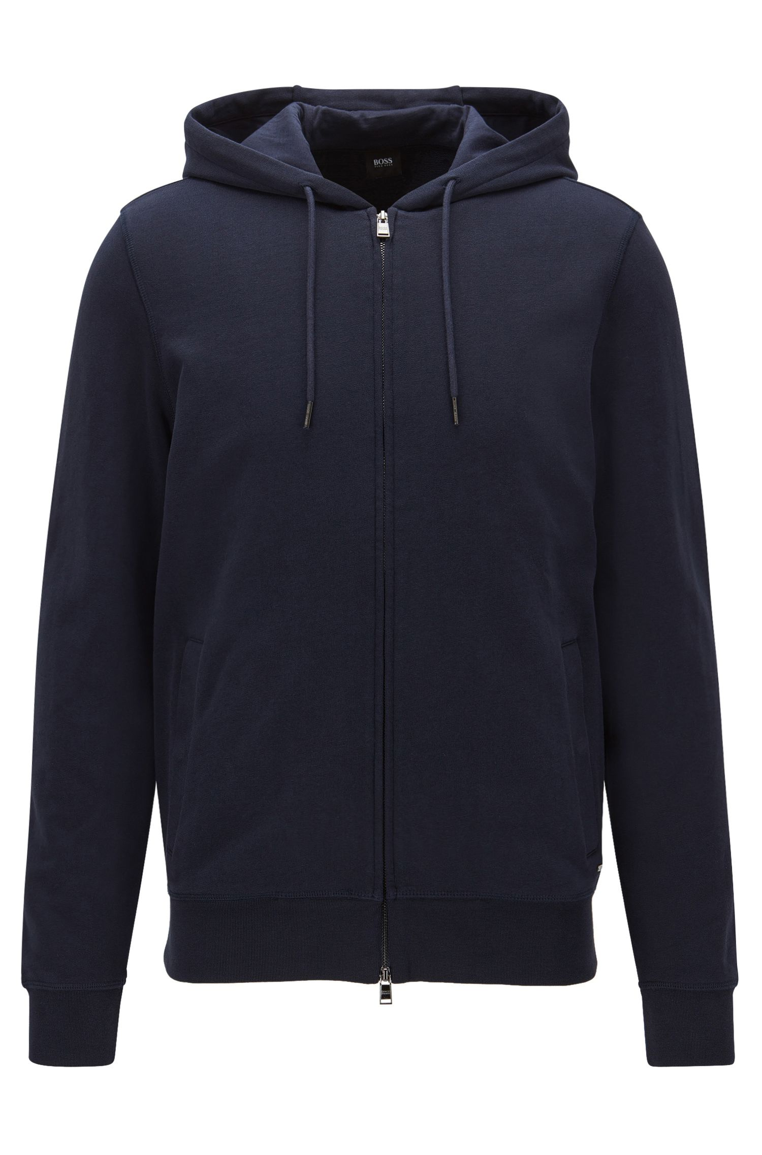 Slim-fit zip-through sweatshirt in cotton terry