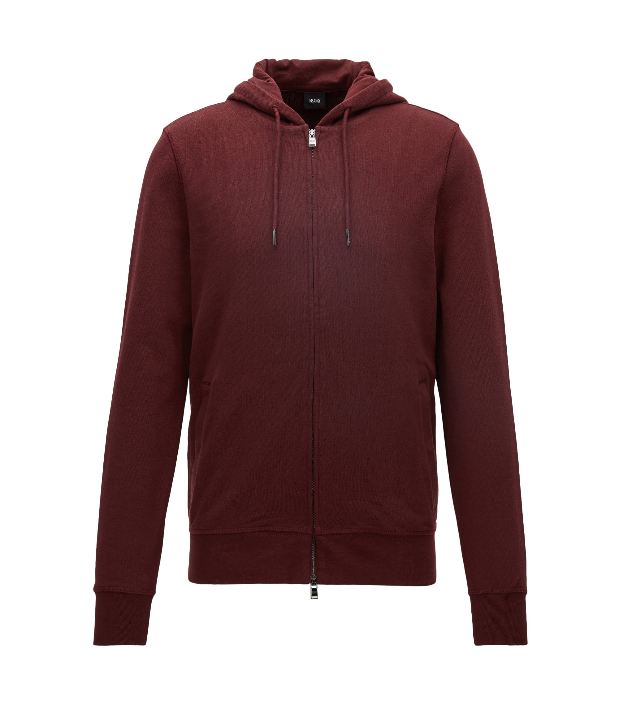 Sweat Slim Fit zippé molleton bouclette de coton, Rouge sombre