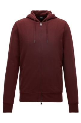 Slim-fit zip-through sweatshirt in cotton terry, Dark Red
