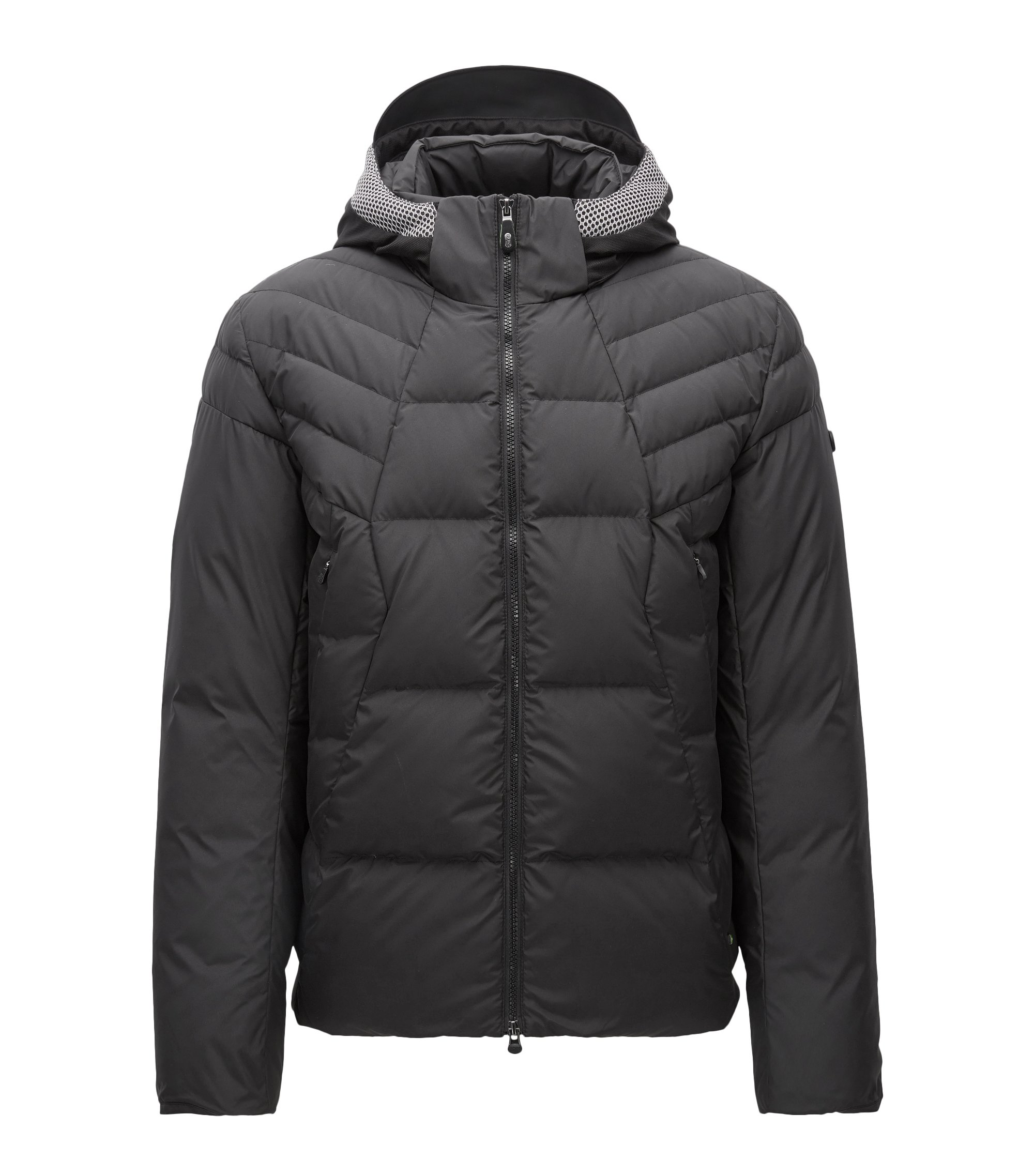 Regular-fit down jacket in technical fabric, Black
