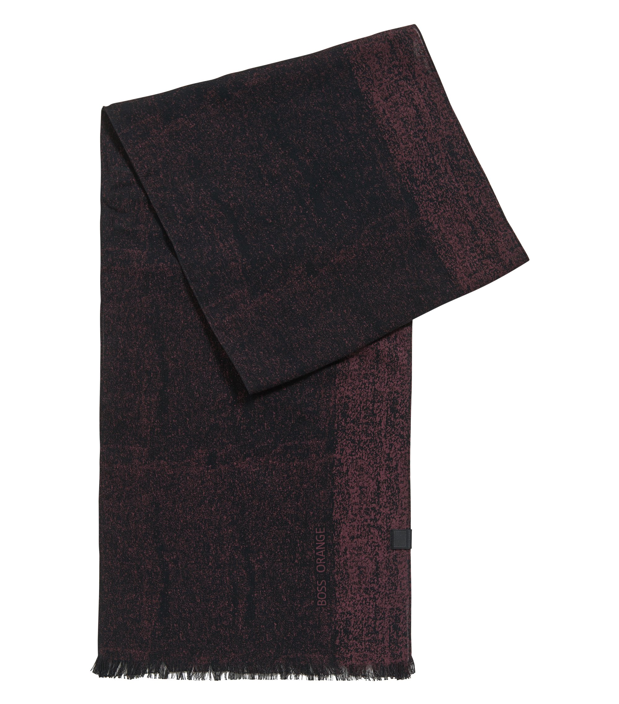 Cotton scarf with woven logo, Black