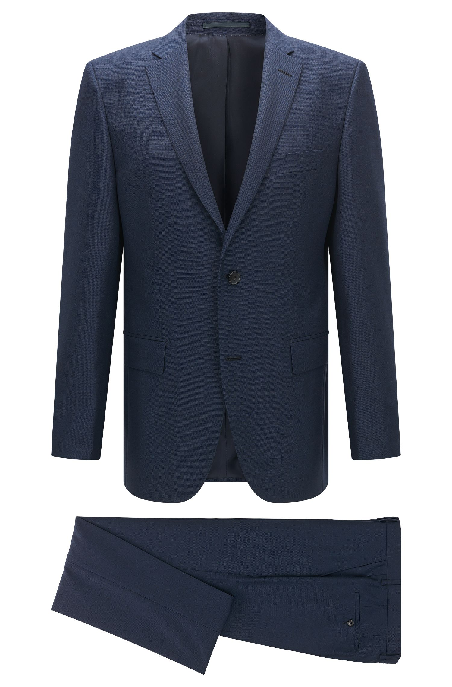 Regular-fit suit in virgin wool and silk