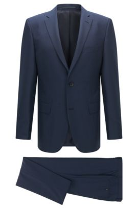 Regular-fit suit in virgin wool and silk, Dark Blue