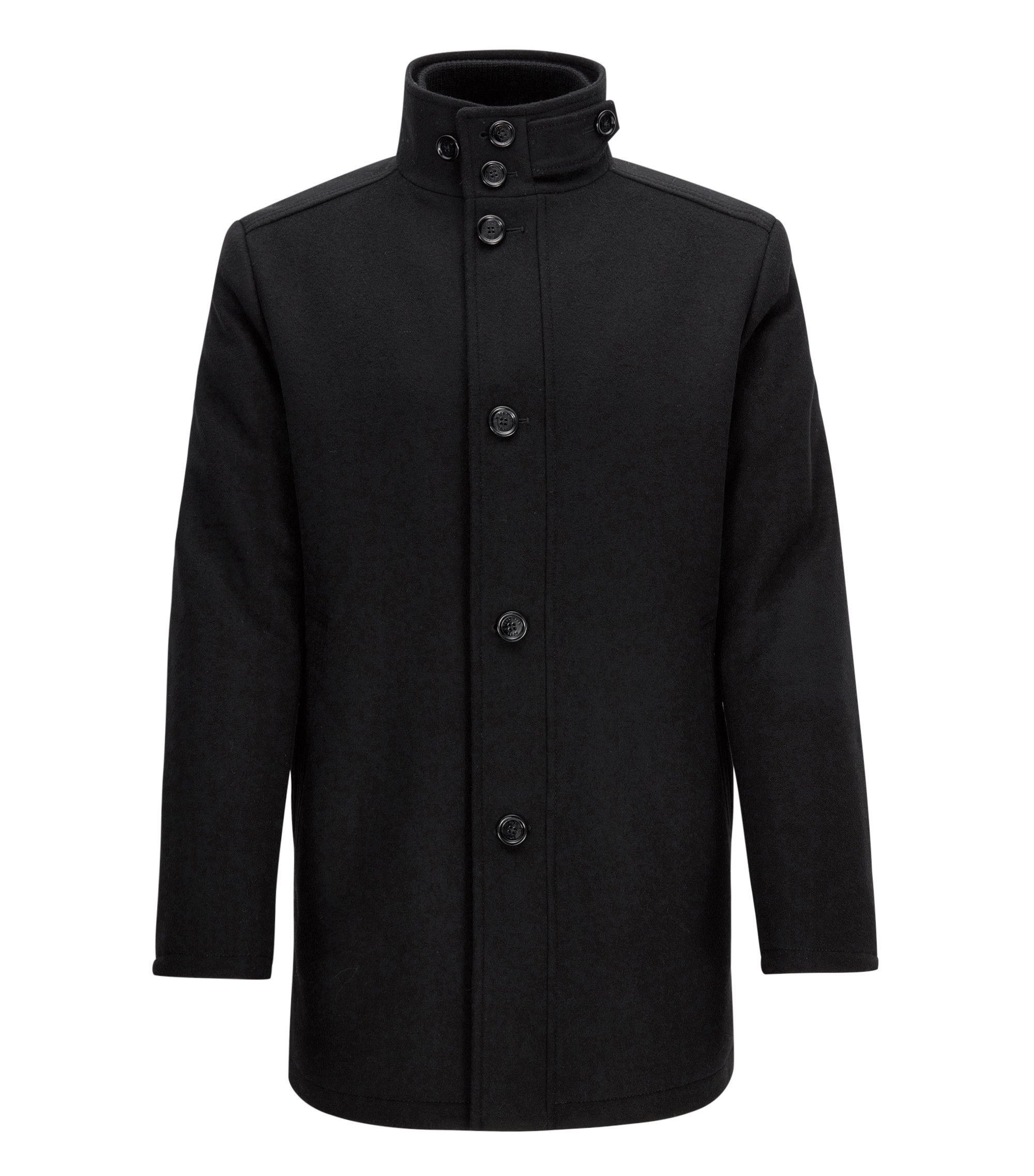 Wave-blocker coat in wool and cashmere, Black