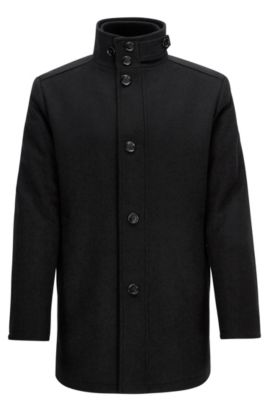 Wave-blocker coat in wool and cashmere, Negro
