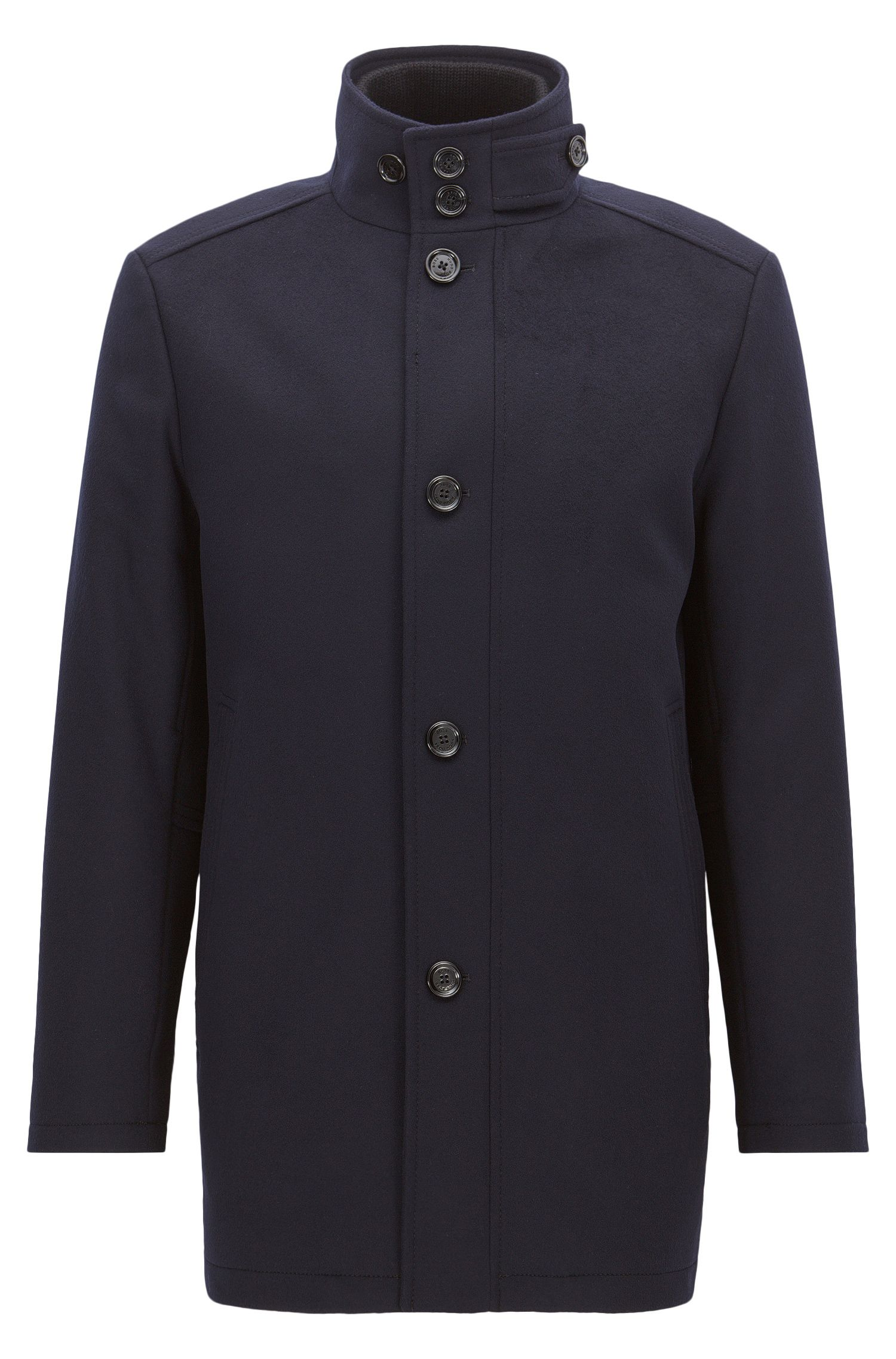 Wave-blocker coat in wool and cashmere