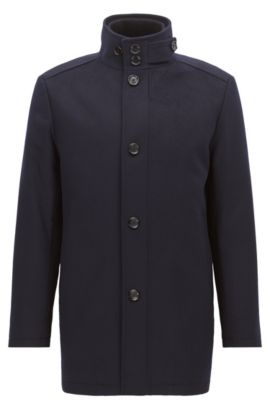 Wave-blocker coat in wool and cashmere, Dark Blue