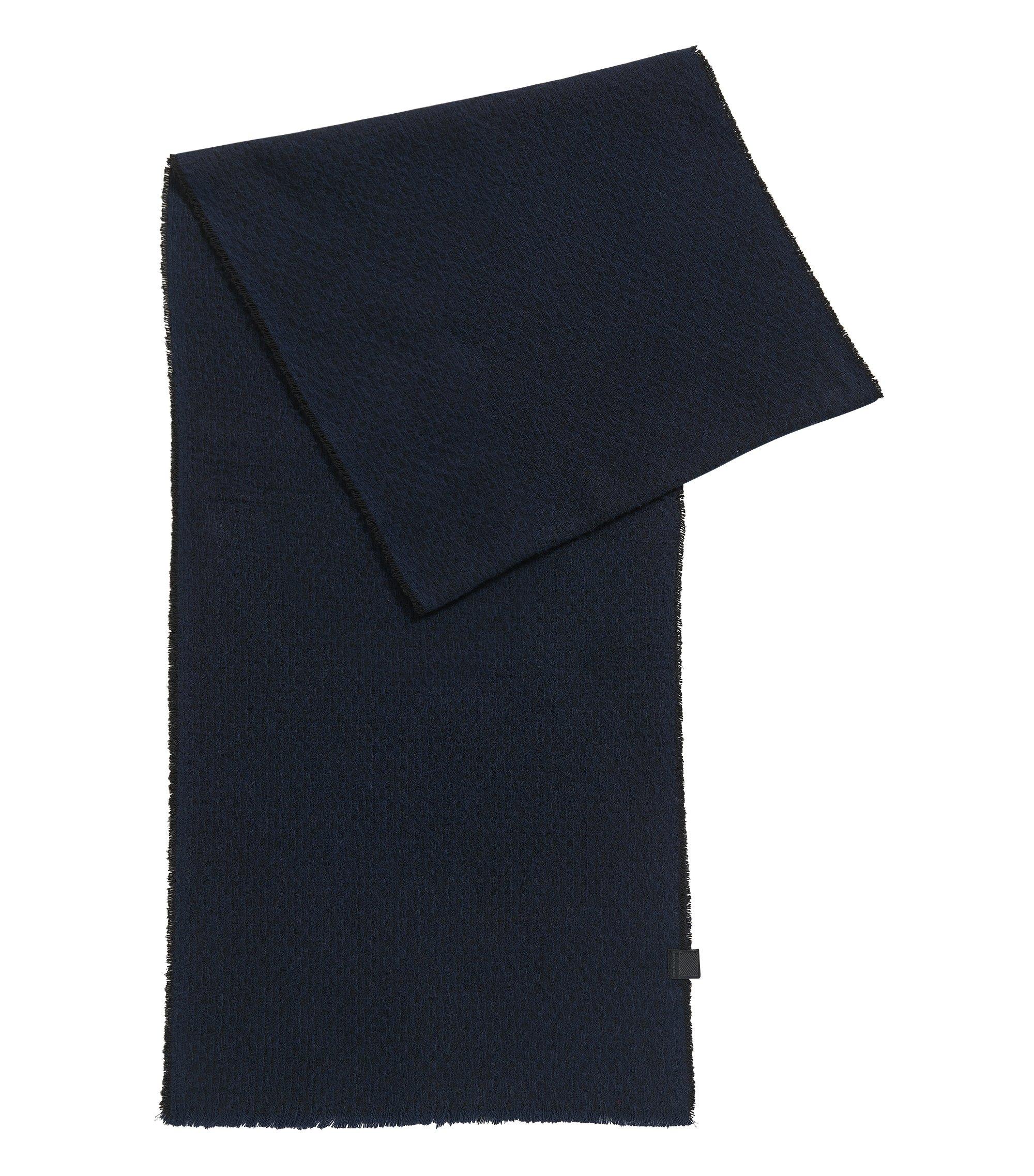 Sjaal van gestructureerde katoen met korte franje, Zwart