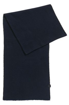Lightly fringed scarf in structured cotton, Black