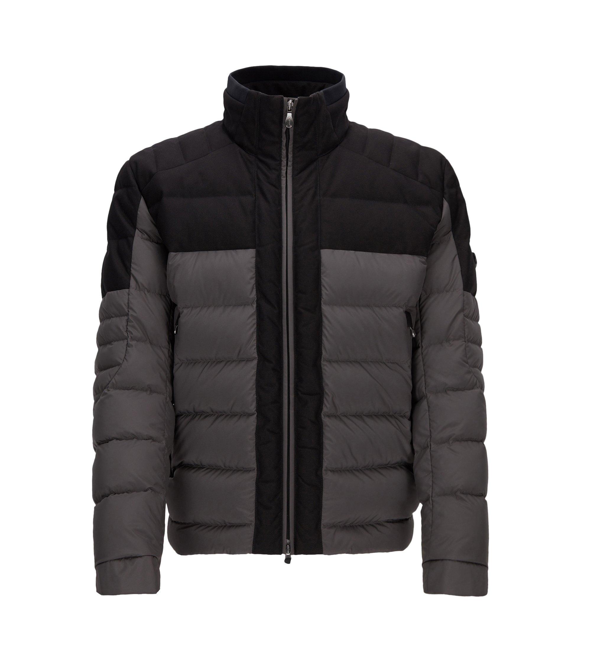 Regular-Fit-Jacke aus Material-Mix, Grau