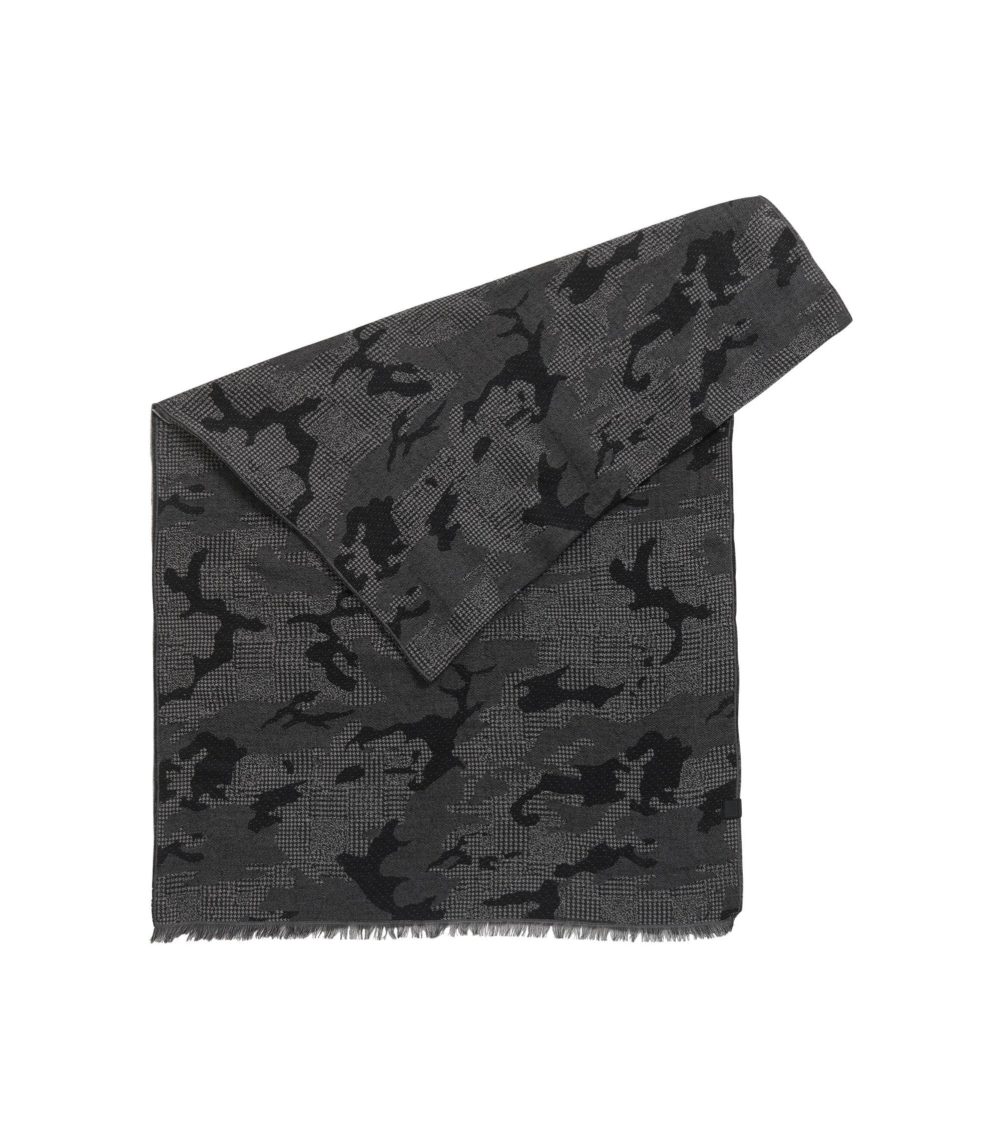 Jacquard scarf in soft cotton, Black