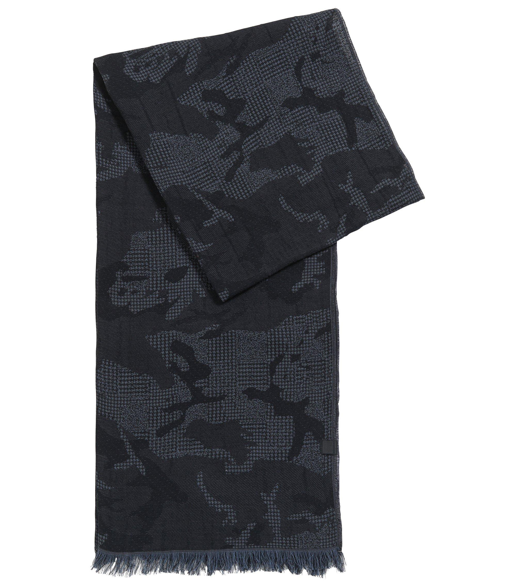 Schal aus weichem Baumwoll-Jacquard, Dunkelblau