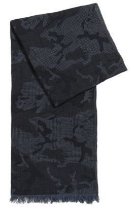 Jacquard scarf in soft cotton, Dark Blue