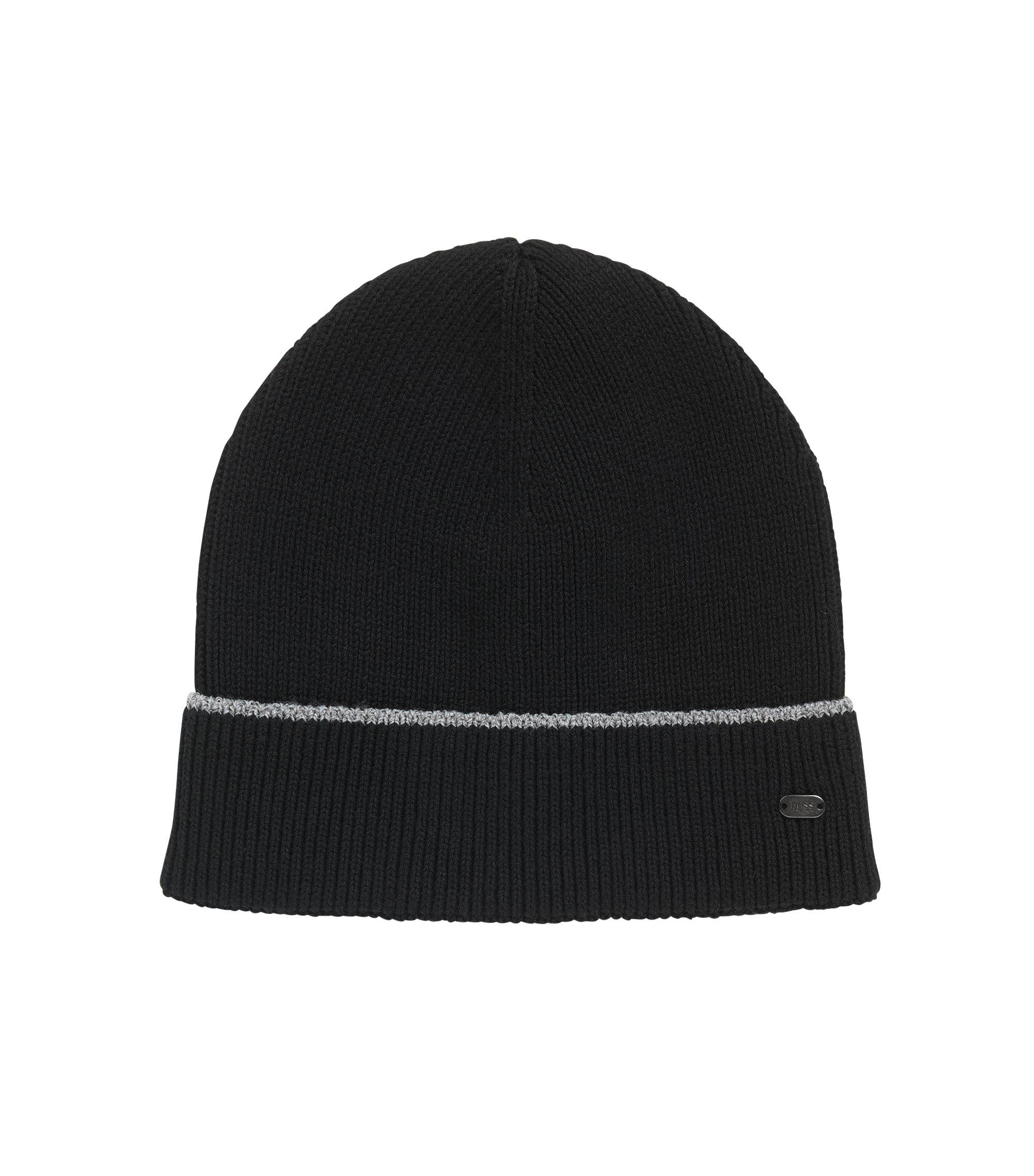 Mütze aus Baumwoll-Mix mit reflektierendem Streifen, Schwarz