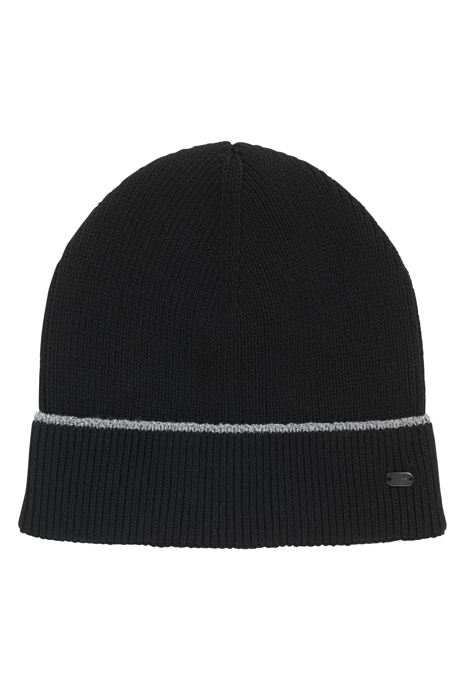 Cotton-blend beanie hat with reflective stripe