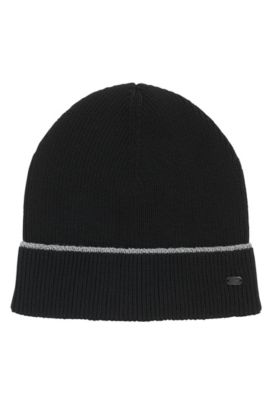 Cotton-blend beanie hat with reflective stripe, Noir