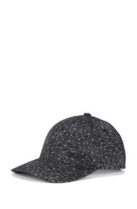Printed baseball cap in technical fabric, Black