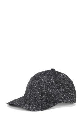 Cappellino da baseball con stampa in tessuto tecnico, Nero