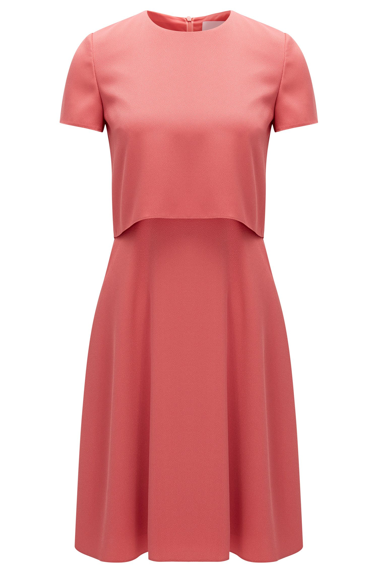 Regular-fit layered dress in hammered fabric