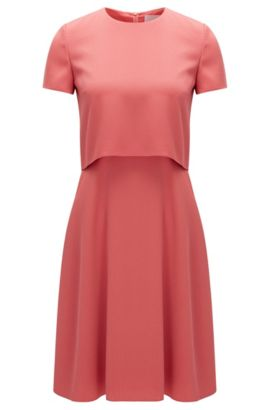 Regular-fit layered dress in hammered fabric, Light Red