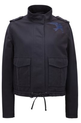 Relaxed-fit jacket in cotton twill, Dark Blue