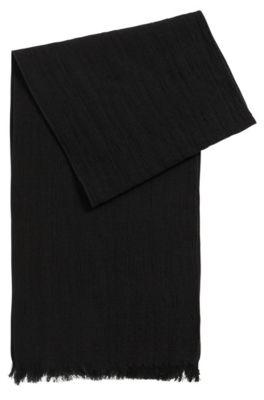 Schal aus strukturiertem Baumwoll-Mix mit Wolle, Schwarz