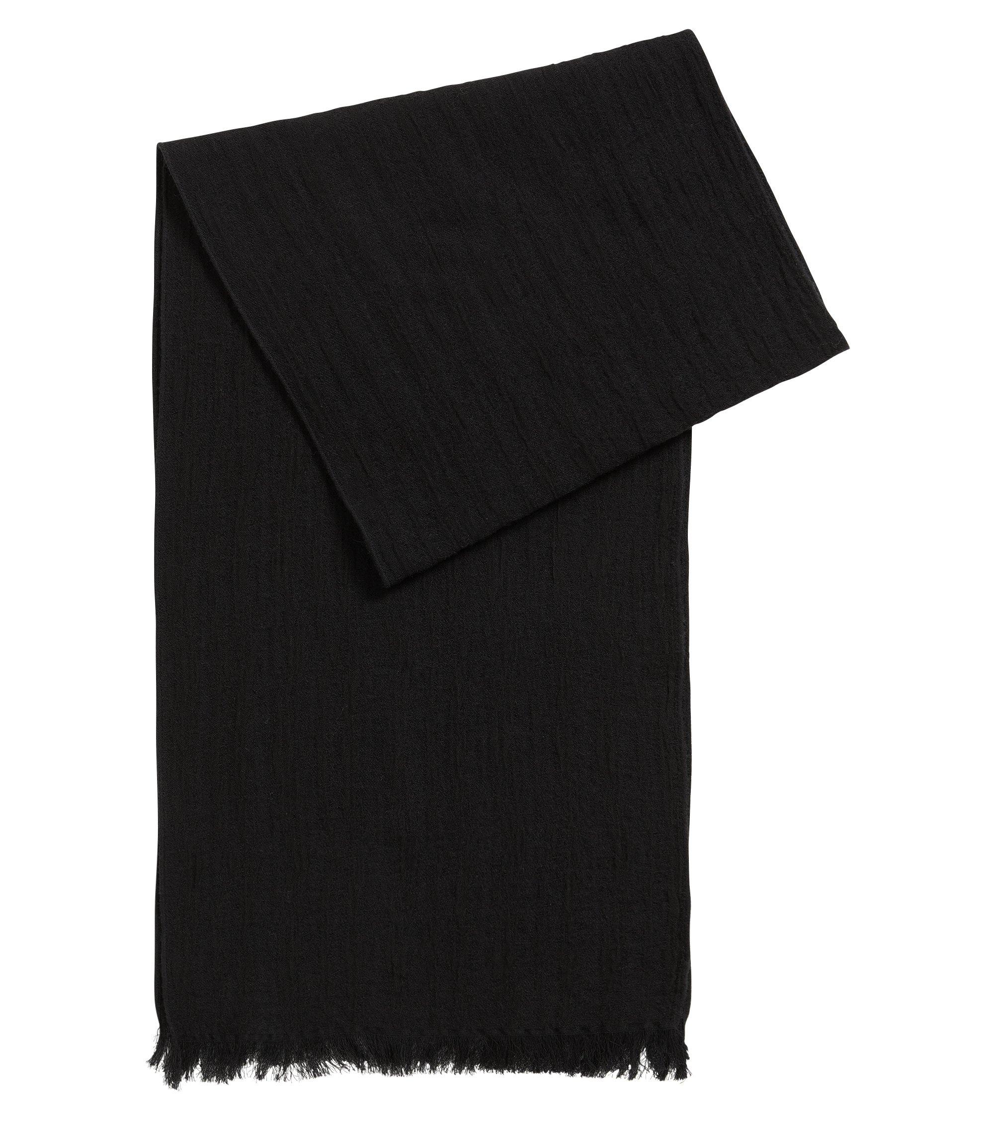 Gestructureerde sjaal van katoen en wol, Zwart