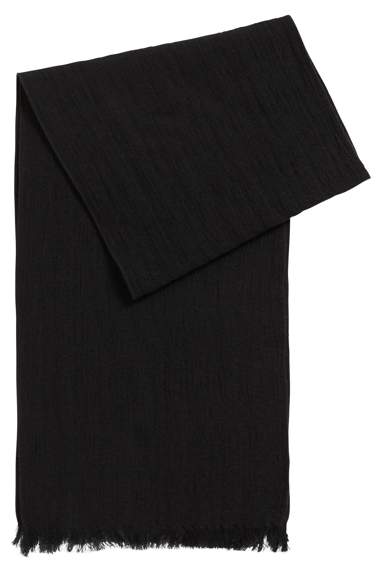 Structured scarf in cotton and wool