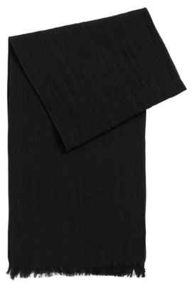 Structured scarf in cotton and wool, Black