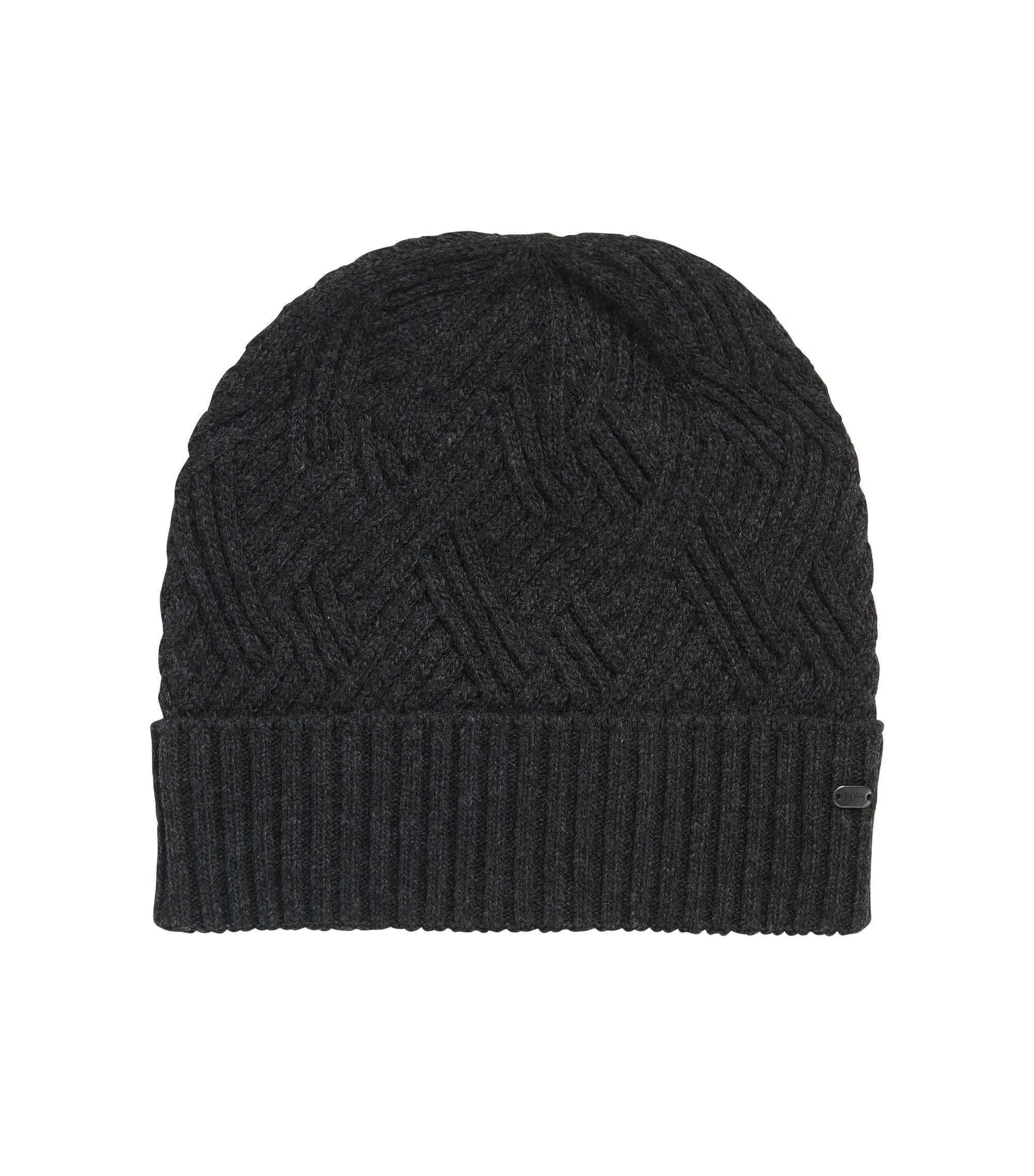Strick-Mütze aus Material-Mix mit Wolle und Kaschmir , Anthrazit