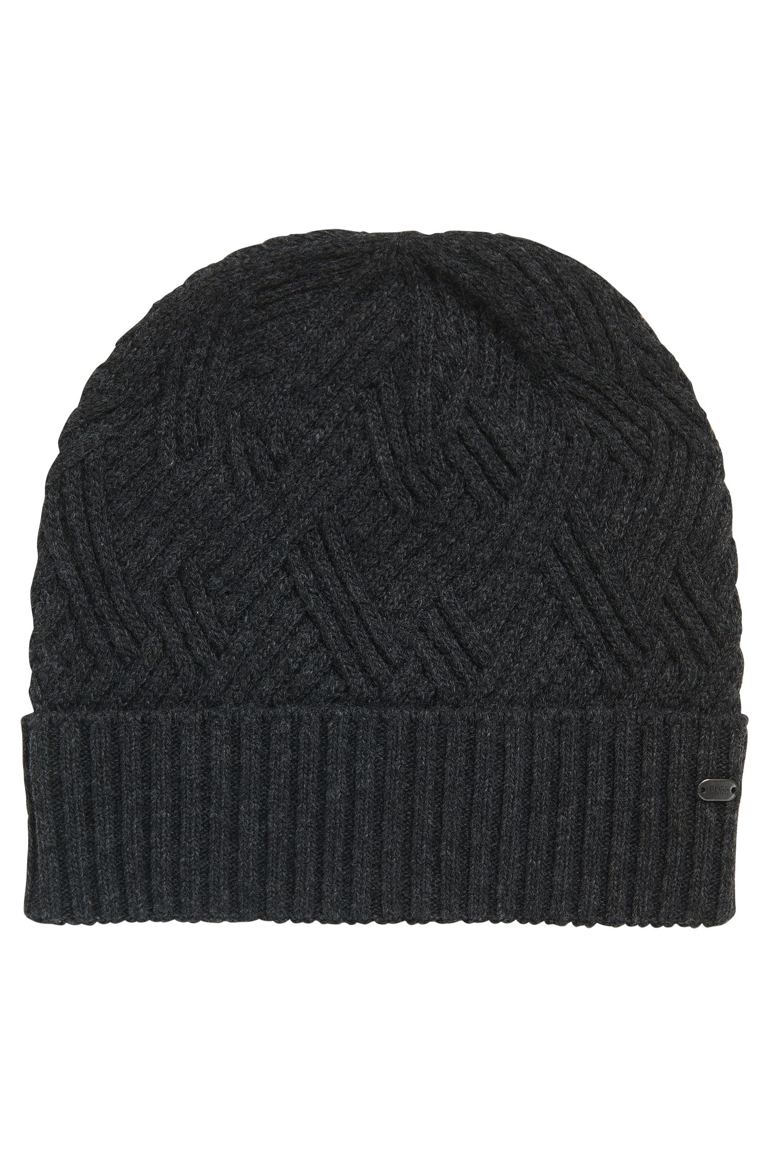 Cable-knit beanie hat